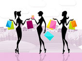 Shopper Women Shows Commercial Activity And Adults — Stock Photo