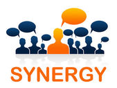 Synergy Teamwork Shows Working Together And Collaborate — Stock Photo