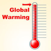 Global Warming Indicates Fahrenheit Thermometer And Celsius — Stock Photo