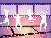 Disco Dancing Shows Camera Film And Celluloid — Stock Photo