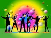 Disco Silhouette Indicates Togetherness Friends And Together — Stock Photo