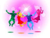 Glow Fun Indicates Light Burst And Jump — Foto Stock