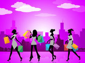 City Shopping Indicates Commercial Activity And Buying — Stock Photo