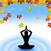Yoga Leaves Indicates Meditate Relaxation And Plant — Stok fotoğraf