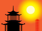 Silhouette Pagoda Means Profile Worship And Asia — Stock Photo