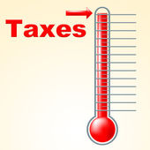 Thermometer Taxes Represents Duties Mercury And Taxpayer — Foto de Stock
