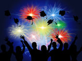 Fireworks Education Shows New Grad And Achievement — Stock Photo