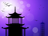 Pagoda Silhouette Represents Religious Temple And Worship — Zdjęcie stockowe