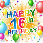 Birthday Sixteenth Represents Celebration Greeting And Congratulations — Foto Stock