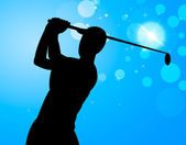 Golf Swing Represents Golfer Exercise And Golf-Club — Stock Photo
