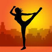 Dancing Posing Represents Yoga Pose And Spirituality — Stock Photo