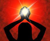 Yoga Pose Means Meditating Spirituality And Meditation — Stock Photo