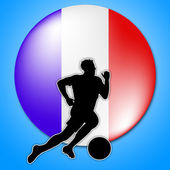 Soccer Player Means National Flag And Football — Stock Photo