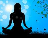 Yoga Pose Shows Meditate Calm And Harmony — Stock Photo