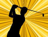 Golf Swing Indicates Golf-Club Exercise And Golfing — Stock Photo