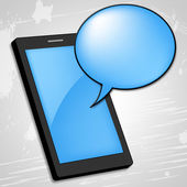 Mobile Phone Shows Talking Cellphone And Gossip — Stock Photo