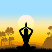 Yoga Pose Means Scenic Green And Meditate — Stock Photo