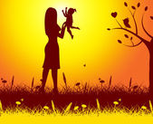 Mother Nature Means Rural Kid And Mom — Stock Photo