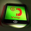 Voip On Phone Shows Voice Over Internet Protocol And Ip Telephon — Stock Photo #51616673