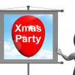 Xmas Party Sign Shows Christmas Festivity and Celebration — Stock Photo #51617049