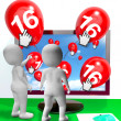 Number 16 Balloons from Monitor Show Internet Invitation or Cele — Stock Photo #51617111