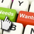 Needs Wants Computer Keys Show Necessities And Wishes — Stock Photo #51618585