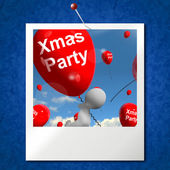 Xmas Party Balloons Photo Show Christmas Celebration and  Festiv — Stock Photo