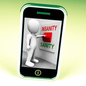 Insanity Sanity Switch Shows Sane Or Insane Psychology — Stock Photo
