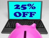 Twenty-Five Percent Off Laptop Means Online Shopping Save 25 — Stock Photo