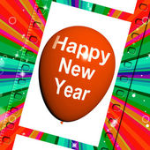 Happy New Year Balloon Shows Parties and Celebrations — Stock Photo