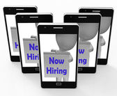 Now Hiring Smartphone Shows Recruitment And Job Opening — Stock Photo