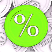 Percentage Sign Coin Meaning Interest Rates — Stock Photo
