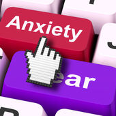 Anxiety Fear Keys Mouse Means Anxious And Afraid — Stock Photo