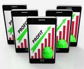 Profit Graph Phone Shows Sales Revenue And Return — Stock Photo