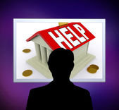 Help on House Or Money Box Man Means Loan Assistance — Stock Photo