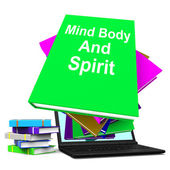 Mind Body And Spirit Book Stack Laptop Shows Holistic Books — Stock Photo