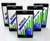Bonus Graph Phone Shows Incentives Rewards And Premiums — Stock Photo