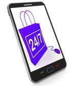 Twenty-four Seven Bag Represents Online Shopping Availability — Stock Photo
