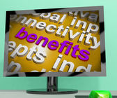 Benefits Word Cloud Screen Shows Advantage Reward Perk — Stock Photo