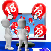Number 18 Balloons from Monitor Show Internet Invitation or Cele — Zdjęcie stockowe