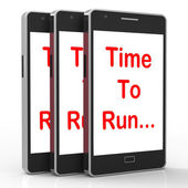 Time To Run Smartphone Means Short On Time And Rushing — Stock Photo