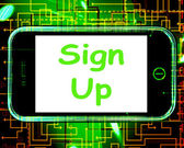 Sign Up On Phone Shows Join Membership Register — Stock Photo