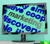 Marketing Word Shows Advertising Promoting And Selling — Stock Photo