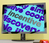 Incentive Word Screen Shows Motivation Enticement Or Reward — Stock Photo