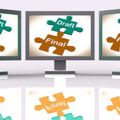 Draft Final Puzzle Shows Write And Rewrite — Stock Photo