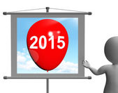 Two Thousand Fifteen on Sign Shows Year 2015 — 图库照片