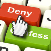 Denial Deny Keys Shows Guilt Or Denying Guilt Online — Stock Photo