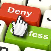 Denial Deny Keys Shows Guilt Or Denying Guilt Online — Stock Photo