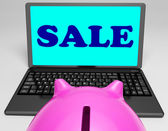 Sale Laptop Shows Web Price Slashed And Bargains — Stock Photo
