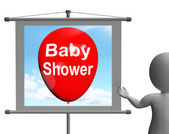 Baby Shower Sign Shows Cheerful Festivities and Parties — Stock Photo